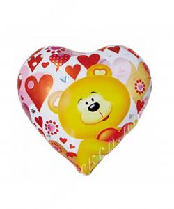 Воздушный шар (18''/46 см) Сердце, Мишка с сердцем, 1 шт.