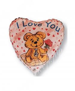 Воздушный шар (18''/46 см) Сердце, Влюбленный медведь, 1 шт.