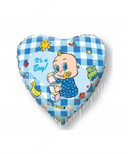 Воздушный шар (18''/46 см) Сердце, Новорожденный мальчик, Голубой, 1 шт.