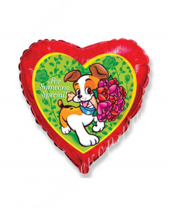Воздушный шар (18''/46 см) Сердце, Собака с букетом, Красный, 1 шт.