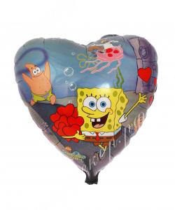 Воздушный шар (18''/46 см) Сердце, Губка Боб, 1 шт