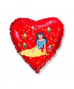 Воздушный шар (18''/46 см) Сердце, Белоснежка и гномы, Красный, 1 шт.