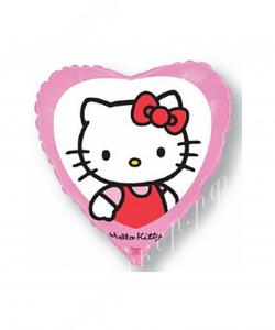 Шар (18''/46 см) Сердце, Китти, Розовый, 1 шт.