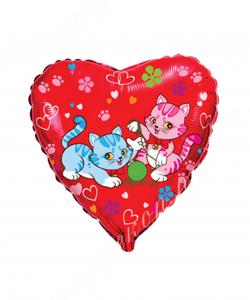 Шар (18''/46 см) Сердце, Милые котята, Красный, 1 шт.