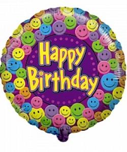 Воздушный шар (18''/46 см) Круг, С Днем рождения (улыбки), Фиолетовый, 1 шт.
