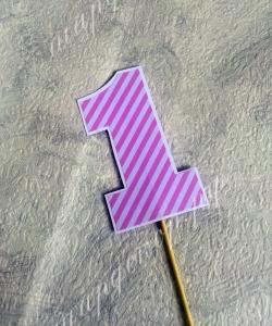 Топпер для торта, розовый, в полоску