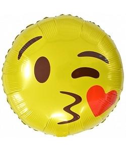 Воздушный шар (18''/46 см) Круг, Смайл Эмоции (С поцелуем)