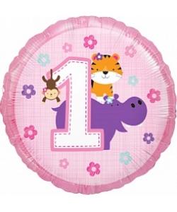 Шар (18''/46 см) Круг, Первый День рождения девочки, Розовый, 1 шт.
