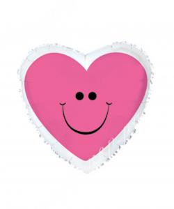Шар (18''/46 см) Сердце, Сердце с улыбкой, Розовый, 1 шт.