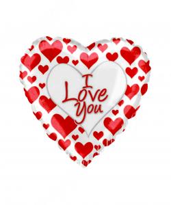 Воздушный шар (18''/46 см) Сердце, Я люблю тебя (простые красные сердечки), Белый, 1 шт.