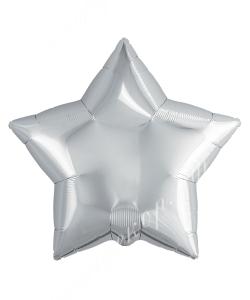 Фольгированный шар (21''/46 см) Звезда, Серебро, 1 шт.