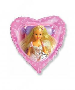 Шар (18''/46 см) Сердце, Синди, Розовый, 1 шт.