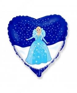 Воздушный шар (18''/46 см) Сердце, Снежная королева, 1 шт.