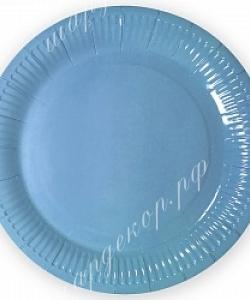 Тарелки однотонные, Голубые, 18 см, 6 шт