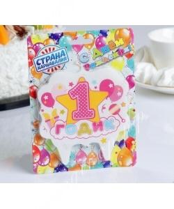 """Свеча для торта цифра «1 годик, звезда» """"1"""" розовая"""