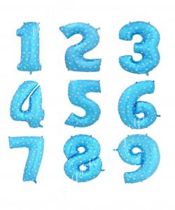 Цифра голубая со звездами