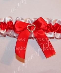 Атласная подвязка с пряжкой «Сердечко», красный