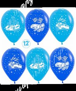 """Шар 12"""" (30 см) """"Машины"""" голубой микс"""