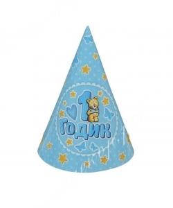 """Колпак бумажный """"1 годик"""", голубой цвет (Набор 6 штук) Мишка"""