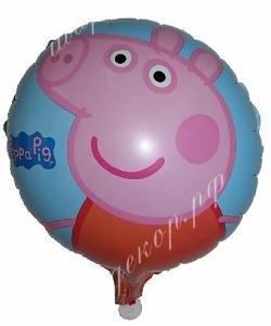 Воздушный шар (18''/46 см) Круг, Свинка Пеппа
