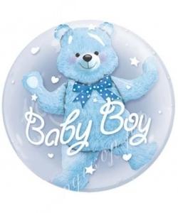 Воздушный шар (24''/60 см) Круг, Медвежонок (мальчик)