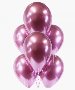 Шар (12''/30 см) Розовый, хром