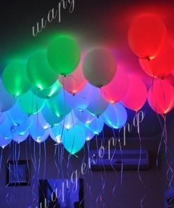 """Шар 12"""" (30 см) Белый шар с разноцветным светодиодом"""