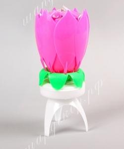 Музыкальная свеча, розовая