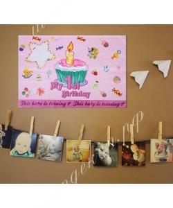 Плакат с поздравлениями «Первый день рождения» (57*85)