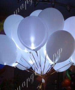 "Шар 12"" (30 см) Белый шар с белым светодиодом"