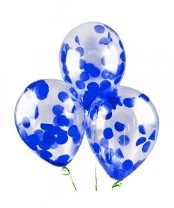 """Шар 12"""" (30 см) с конфетти """"Круги большие"""", синие"""