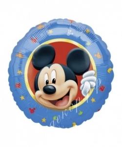 Воздушный шар (18''/46 см) Круг, Микки Маус, голубой