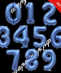 Цифра синяя сатин